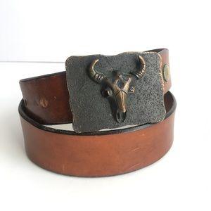 Vintage Steer Skull Belt Buckle Brown Leather